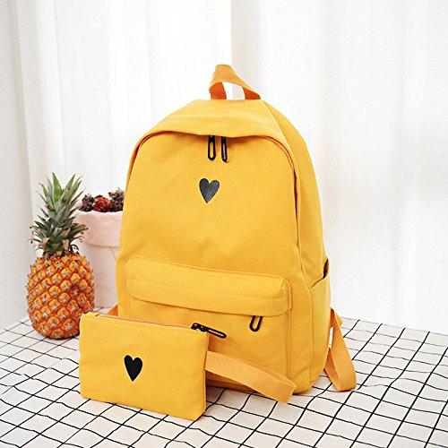 BAGEHUA reine Farbe Herz Drucken junge Männer und Frauen Studenten Rucksack Leinwand Mode Leichte und strapazierfähige Reisen Wandern 14 Zoll Laptop Tasche 7 Farben yellow