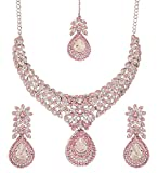 Touchstone white tone Indian bollywood white/pink rhinestones stunning bridal jewelry necklace for women