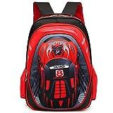 Kids Backpack Cars - Uniuooi Primary School Bag for Boys Age 5-12 Years Old Childrens Book Bag Waterproof Travel Rucksack (Red)