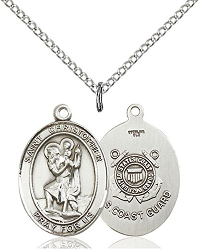 Sterling Silver St. Christopher / Coast Guard Pend with 18