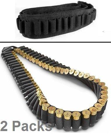 Pack of 2 Safety Solution 10, 12 & 20 Gauge GA Stealth Black 56 Round Shotgun Shotshell Ammo Shot Shell Shoulder Bandolier Bandoleer Carrier (2 Packs)