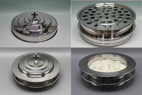 Silvertone  2 Stainless Steel Communion Trays With 1 Lid And 2 Bread Trays With 1 Lid