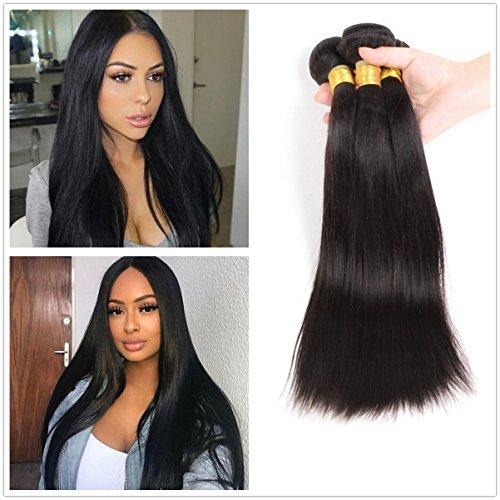 JinXiu 8a Grade Indian Virgin Hair Human Hair Bundles Deal 100% Unprocessed Straight Virgin Human Hair Extensions 100g/bundle Natural Color (14 16 18) ()