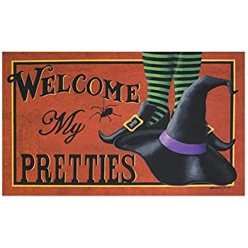Shirley's Door Mats Mat - Welcome My Pretties - Primitive Country Rustic Porch Halloween Fall Seasonal Door Mat