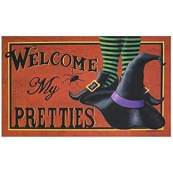 Shirley's Door Mats Mat - Welcome My Pretties - Primitive Country Rustic Porch Halloween Fall Seasonal Door Mat