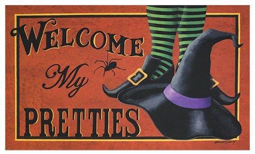 Halloween Rugs (Shirley's Door Mats Mat - Welcome My Pretties - Primitive Country Rustic Porch Halloween Fall Seasonal Door Mat)