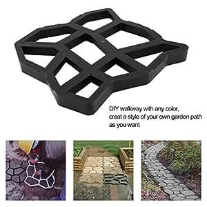 """OUTAD Pack de 217""""X17"""" piedra molde DIY Pathmate Paving pavimento de hormigón piedra pavimentadora Walk eléctrica jardín césped camino pavimentadora negro"""