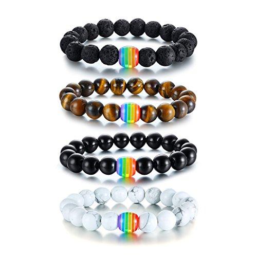 Nanafast LGBT Gay Rainbow Relationship Bracelet Couple Matching Pride Bead Bracelets Rope Bangle 4 Pack by Nanafast