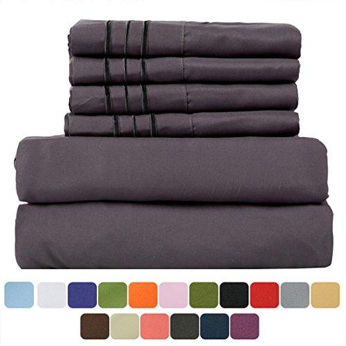 TasteLife 105 GSM Deep Pocket Bed Sheet Set Brushed Hypoallergenic Microfiber 1800 Bedding Sheets Wrinkle, Fade, Stain Resistant - 6 Pcs(Dark Grey, Cal King) Bunk Bed Dark Chocolate