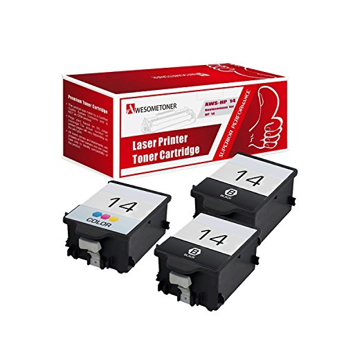 14 Black C5011an Ink - AwesomeToner 3 Pack Compatible ink cartridge for HP 14 2x C5011AN + C5010AN CP1160 Officejet D135 D155 7100's HP Digital Copier 610 High Yield Black 800 Color 500 Pages