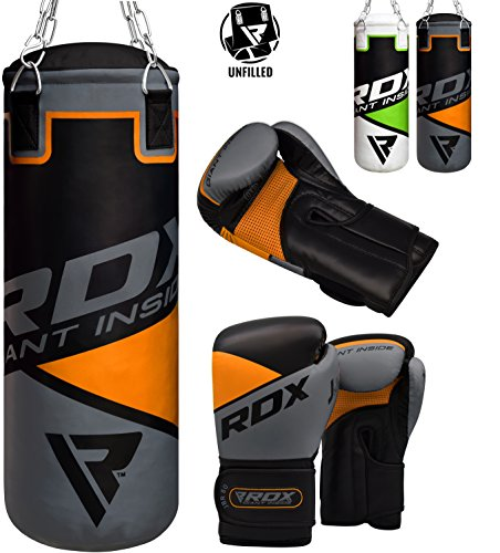 (RDX Kids Punching Bag UNFILLED Set Junior Kick Boxing 2FT Heavy MMA Training Youth Gloves Punching Mitts Muay Thai Martial Arts)