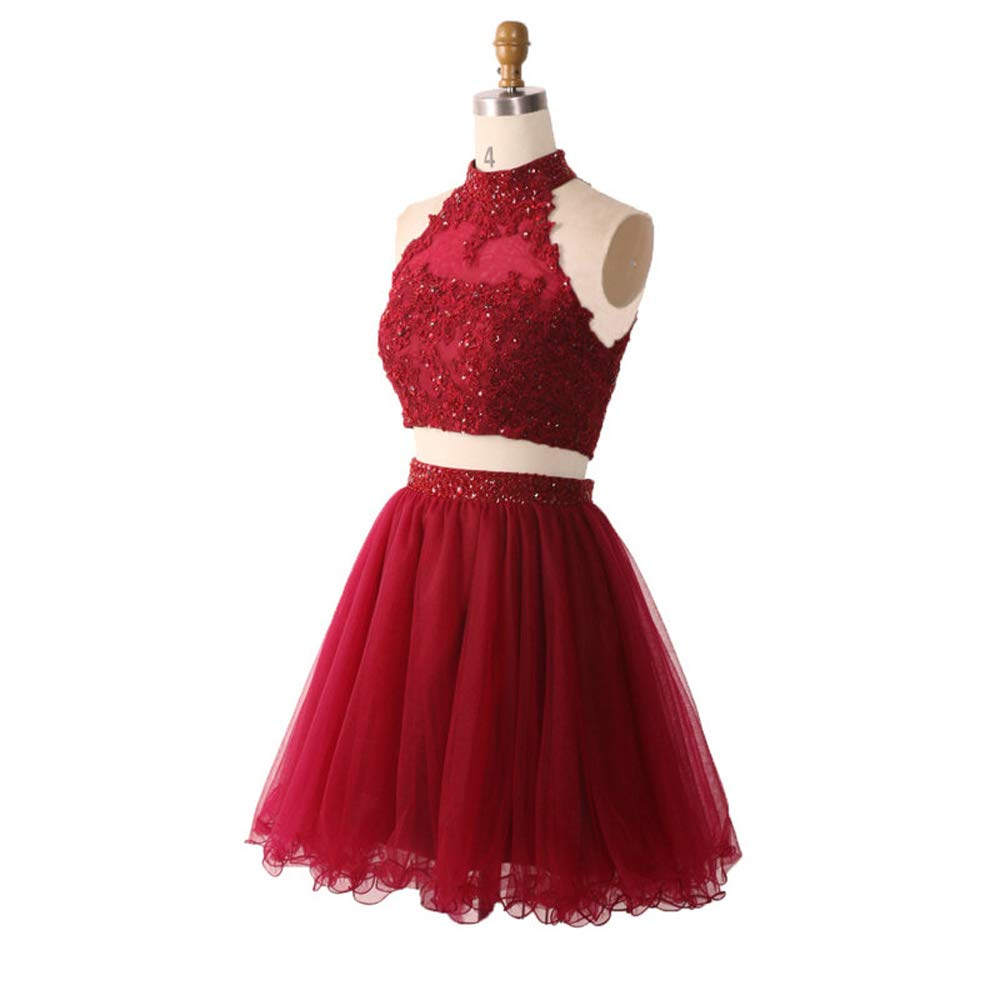 0d538372d84 Amazon.com  XIA Women s Beaded Two Piece Homecoming Dresses Short Prom Ball  Gown Ruffled Tulle Mini Cocktail Graduation Party Dress  Clothing