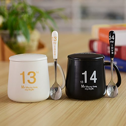 BBujsgH Couples cups 1314 sent cover of ceramic coffee cup breakfast milk water bowl mug , low 1314 to transfer porcelain cup cover porcelain spoon