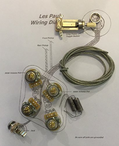 deluxe long shaft wiring kit for gibson les paul® - cts custom spec  525k  pots, new old stock russian k40y-9 caps: amazon co uk: musical instruments