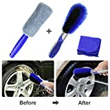 Fixget Car Wheel Cleaning Brush Kit, Wheel Cleaning Brush + Rim Cleaning Brush + Soft Cleaning Cloth, Use for Auto Motorcycle Bike Wheel Cleaning