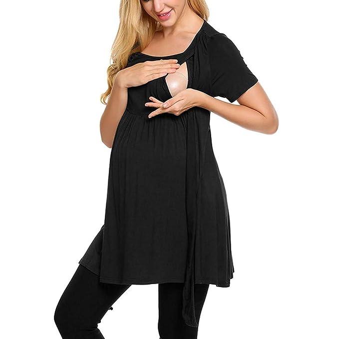 Women Maternity Pregnancy Blouse Nursing Solid Tie Tunic Short Sleeve Tops Dress