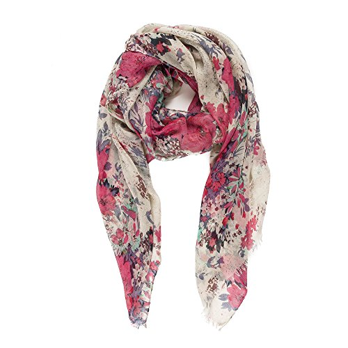 Scarf for Women Lightweight Fashion Fall Winter Red Brown Floral Flower Scarves Shawl Wraps by Melifluos -