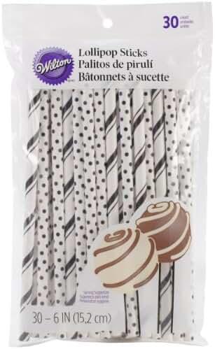 Wilton 1912-4003 Colored Lollipop Sticks, Black