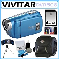 Vivitar DVR508 High Definition Digital Video Camcorder in Blue + 4GB Accessory Kit