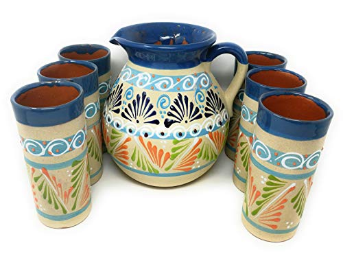 - Mexican Pottery Handcrafted Pitcher with 6 cups