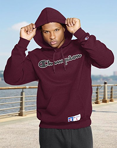 Champion Men?s Retro Graphic Pullover Hoodie, GF53, L, Bordeaux Red Heather