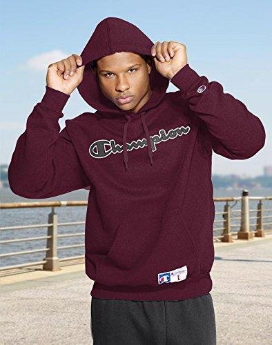 Champion Men?s Retro Graphic Pullover Hoodie, GF53, 2XL, Bordeaux Red Heather