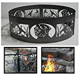PD Metals Steel Campfire Fire Ring Man's Best Friend Design - Unpainted - with Fire Poker and Cooking Grill - Large 48 d x 12 h Plus Free eGuide