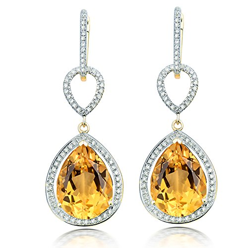 Lanmi 14k White Rose Yellow Gold Natural Emerald Sapphire Tourmaline Ruby Tsavorite Topaz Drop Dangle Earrings for Women Girls