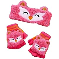 Girls' Critter Headwrap & Flip-Top Glove Sets (Fox)