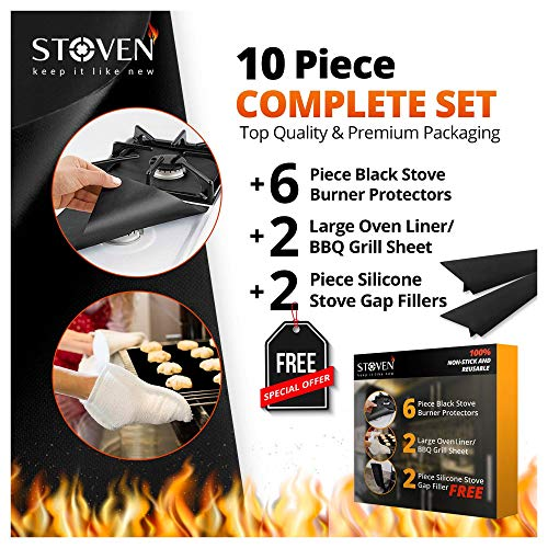 STOVEN Stove Top Burner Covers Premium Gas Range Protector 100% Non-Stick Reusable Oven Liners/BBQ Grill Mats Sheets Accessories + FREE StoveTop Gap Fillers Best 10 Piece Set