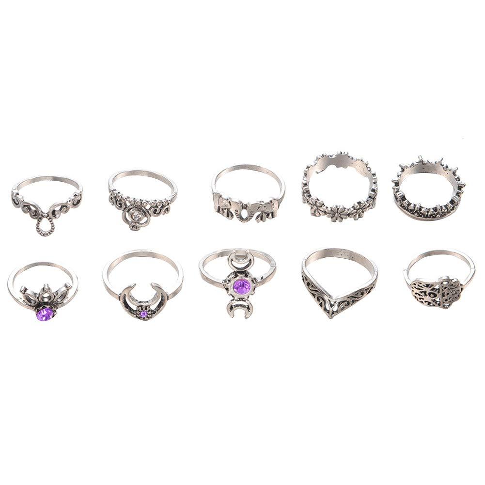 super1798 Vintage Knuckle Ring Set Moon Elephant Fatima Rhinestone Midi Stacking Rings - Silver