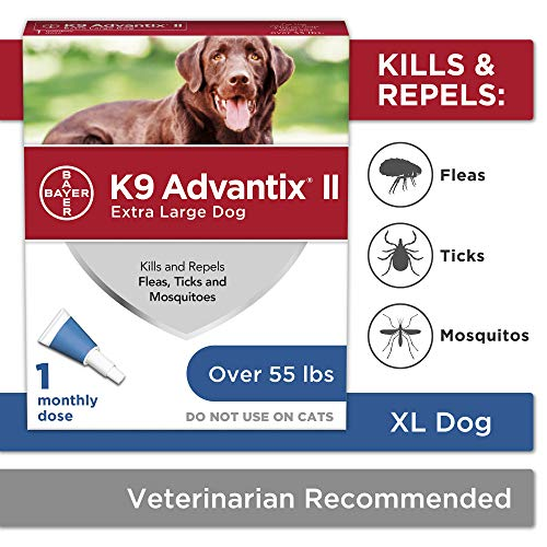 Bayer Animal Health K9 Advantix II Flea and Tick Prevention for Dogs, Dog Flea and Tick Treatment for Extra Large Dogs Over 55 lbs, 1 Monthly Application