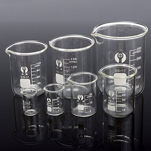 Toolcool 7Pcs Borosilicate Glass Beaker Set 5ml 10ml 25ml 50ml 100ml 150ml 250ml Container Volumetric Glassware For Laboratory
