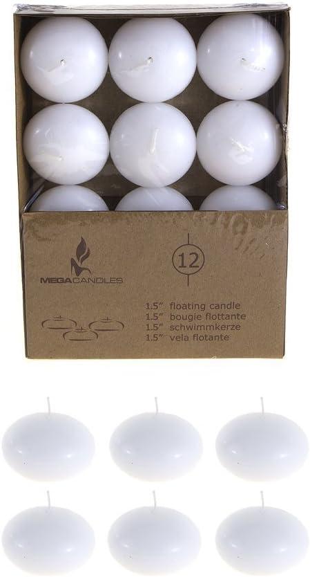 Mega Candles Set of 24 Ivory Unscented 3 Floating Disc Candles