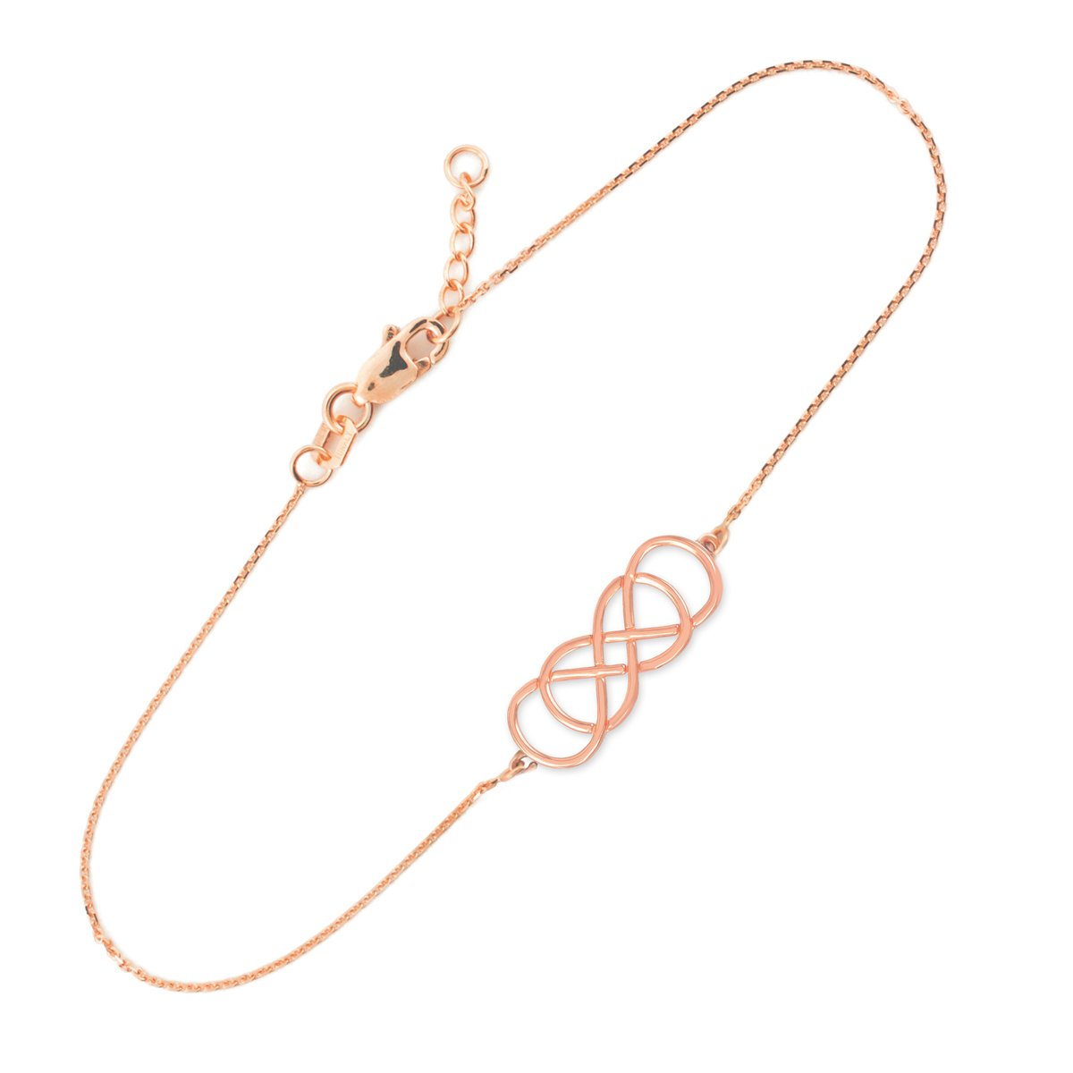 High Polish 14k Rose Gold Double Infinity Bracelet, 7.5'' Adjustable to 8''