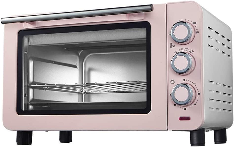 SCKMBJ Convection Toaster Oven,Tray and Anti-Scalding Gloves 1200w Cooking Power 15L Capacity Blue Pink (Color : Pink)