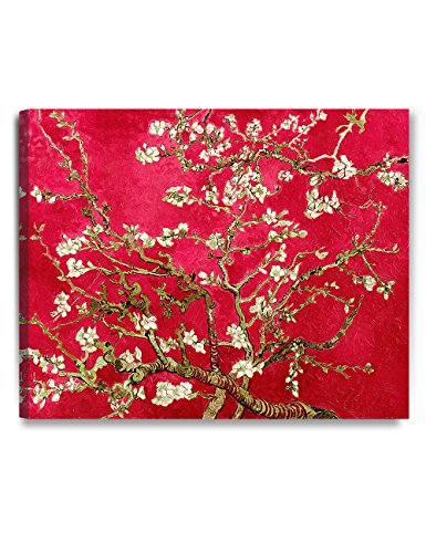 DECORARTS- Red Almond Blossom Tree, Vincent Van Gogh Classic Art, Giclee Print Canvas Art for Wall Decor, Ready to Hang 30x24 x1.5