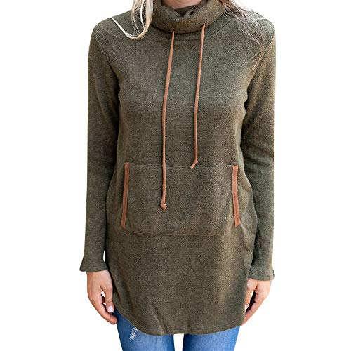 Birdfly Women Elegent High Collar Cashmere Blouse Quality Solid Fall Winter Pullover Top (2XL, Army Green)