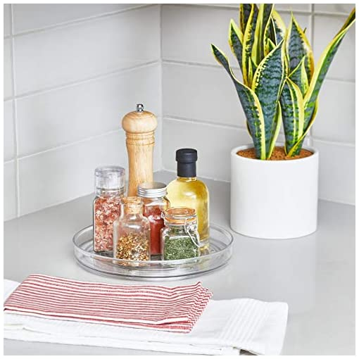Kitchen iDesign Linus Rotating Turntable Organizer – 9″ x 9″ x 1.5″, Clear lazy susans