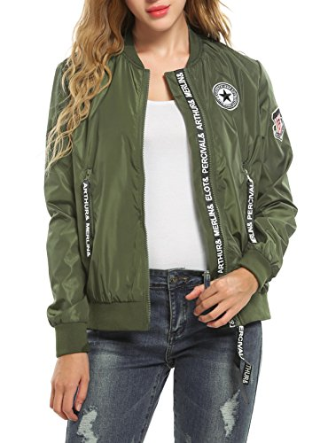 Zeagoo Women Ladies Waterproof Fashion Appliques Patch Zip Up Flight Bomber Jcket 51BNOvdHb5L