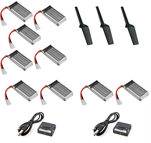 HobbyFlip 3.7v 380mAh Lipo Battery (9) w/Charger and Tail Blade Propellers Compatible with Walkera Genius CP V2 ()
