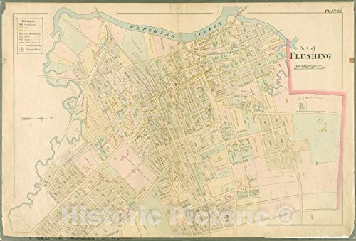 (Historic Map | 1891 Queens County, New York (N.Y.) Plate 9: Lawrence, Bayside, Congress, Myrtle, Whitestone, Bayside, Murray, Sanford, Parsons, Laburnum Ave, Bowne | Vintage Wall Décor | 24in x 16in)