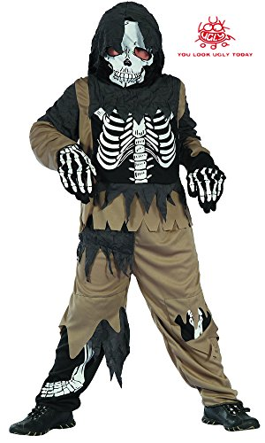 YOU LOOK UGLY TODAY Boy's Scary Skeleton Zombie Halloween Costume Halloween Party (Scary Skeleton Costumes)