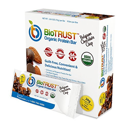 Biotrust Organic Meal Replacement Protein Bars  Belgium Chocolate Chip  9 Bars