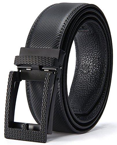 Men's Click Belt Alderman Leather Ratchet Belt for men with Click Buckle Trim to fit (Mens Leather Vans Belt)