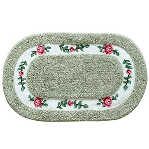 Oval Shaped Decorative Super Soft Floral Design Rural Style Pretty Rose Pattern Non Slip Absorbent Shaggy Area Rug Carpet Doormat Floormat Bath Mat Bathroom Shower Rug (16