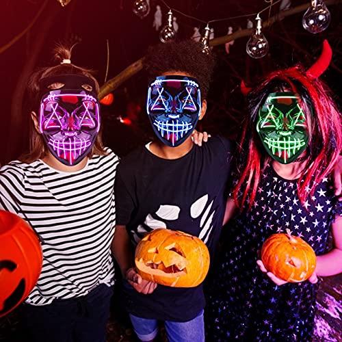 Molbory LED Purge Maske, Halloween Maske, LED Purge Maske im Dunkeln Leuchtend, LED Grusel Maske, Halloween Purge Maske mit 3 Beleuchtungsmodi für Halloween Cosplays Feste und Partys (lila)