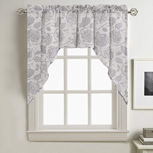 jinchan Swag Valance Grey Kitchen Window Curtain Linen Print Scroll Jacobean Floral Paisley Medallion Rustic Country Style Living Room Window Treatment 38 inch Long (Valance Kitchen Grey)