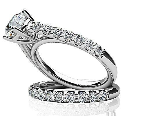 14K Or blanc classique Diamant Brillant Mariage Ensemble