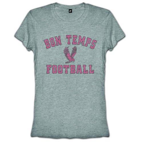 True Blood Bon Temps Football Juniors Girly T-Shirt, Heather Grey, Small (Bon Temps Football T Shirt)